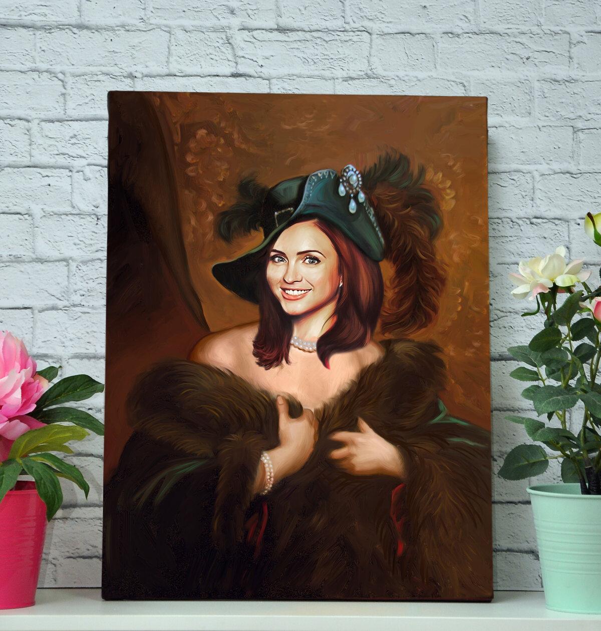 портрет по фото на холсте женский разноцветные изделия могут