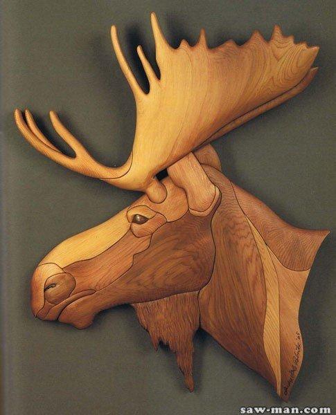 резьба по дереву картинки животных оленя ??????????????