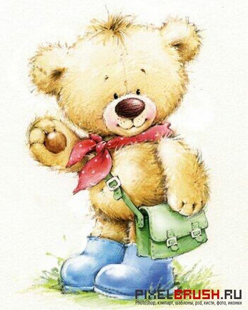 Медвежата красивые открытки, поздравление днем