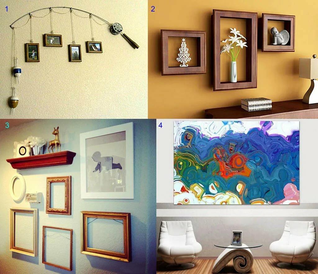 декорирование стены картинками