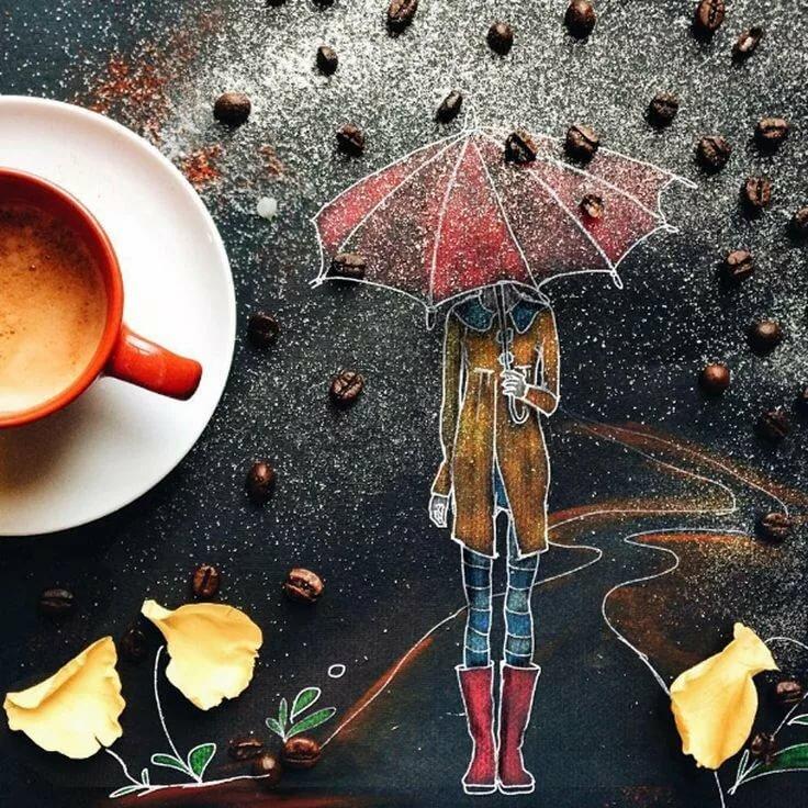 Осенние рисованные картинки с добрым утром, инструктору