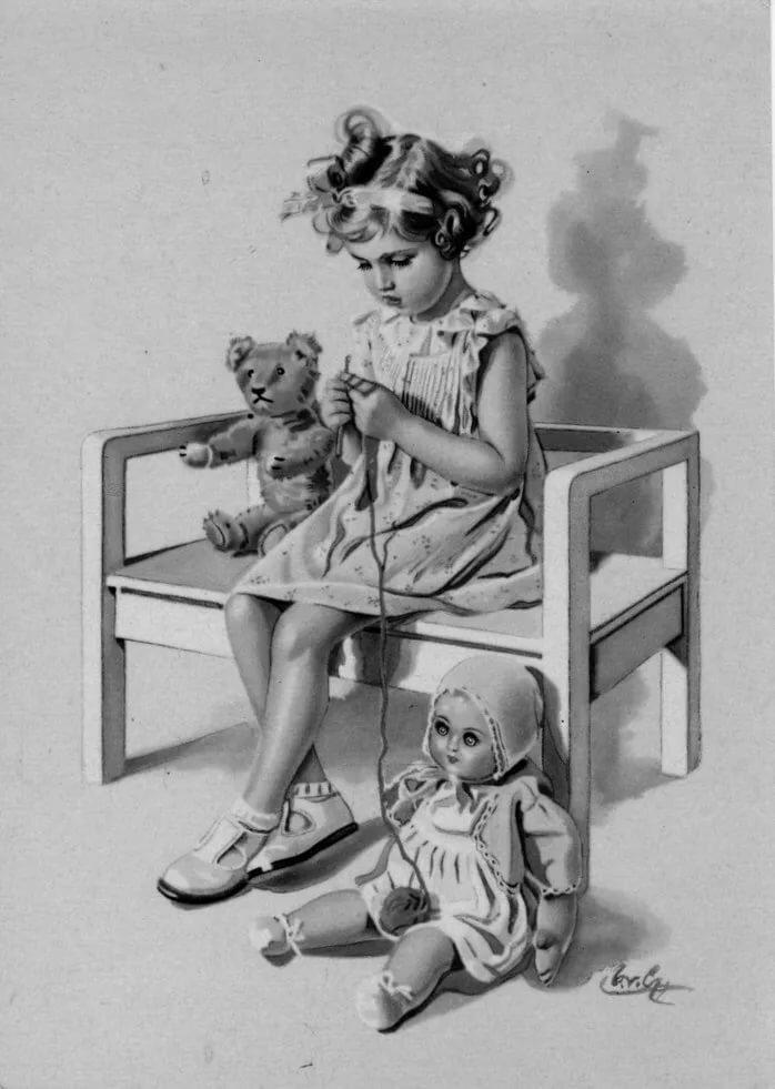 Открытки со старинными куклами