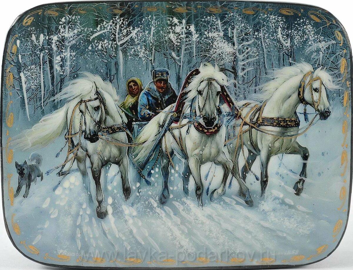 Картинки с тройками лошадей роспись красивые