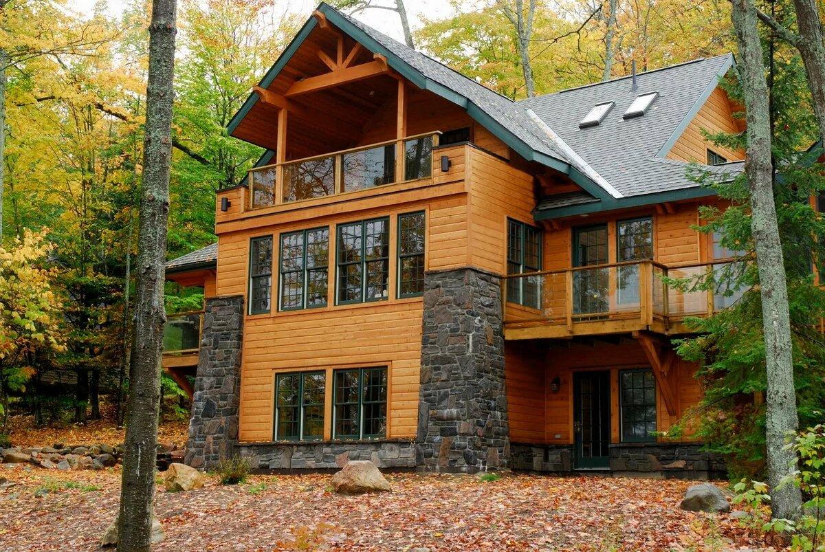 фото двухэтажных коттеджей в лесу строительстве особо