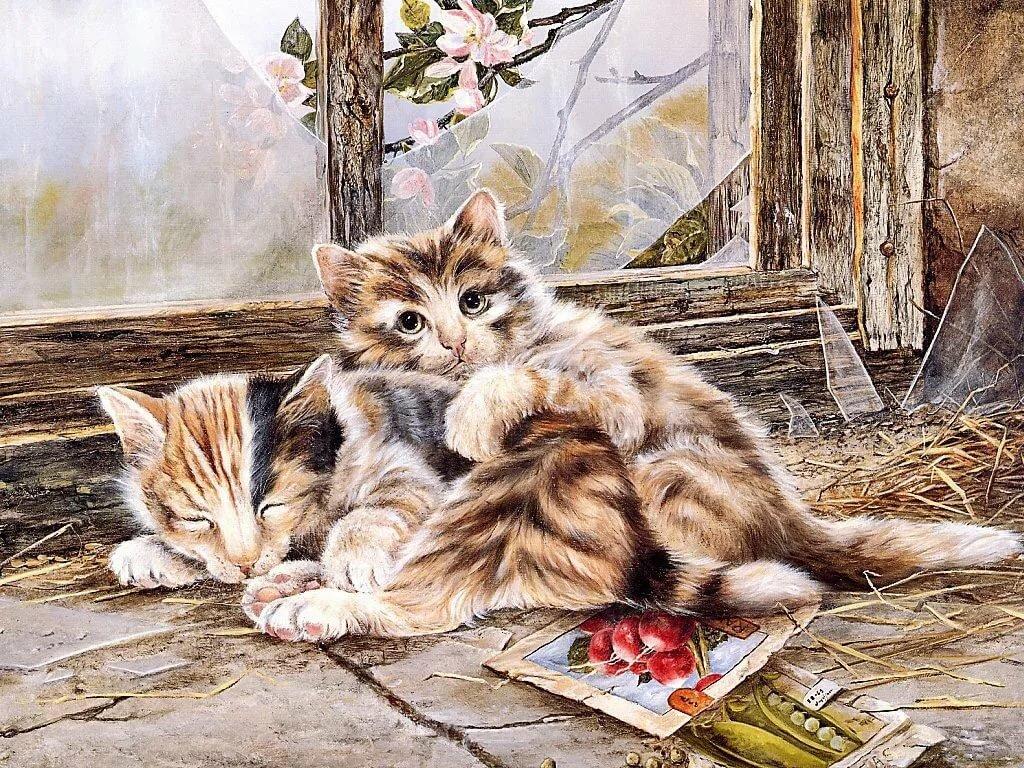 Открытки кошек и котят, для поднятия