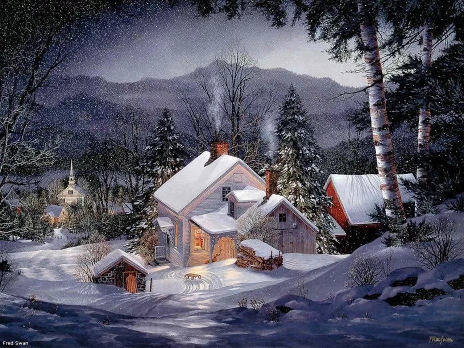 Зимние открытки красивые гиф