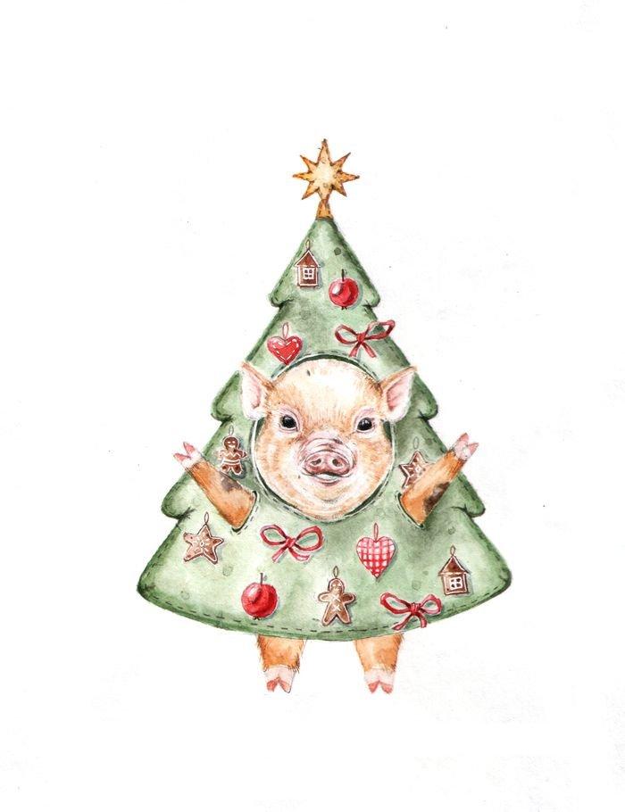 Стильные открытки с новым годом 2019 свиньи, смешные черно