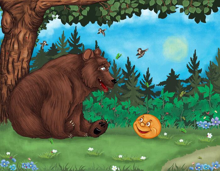 Колобок с медведем картинка, открытка мая пожелания