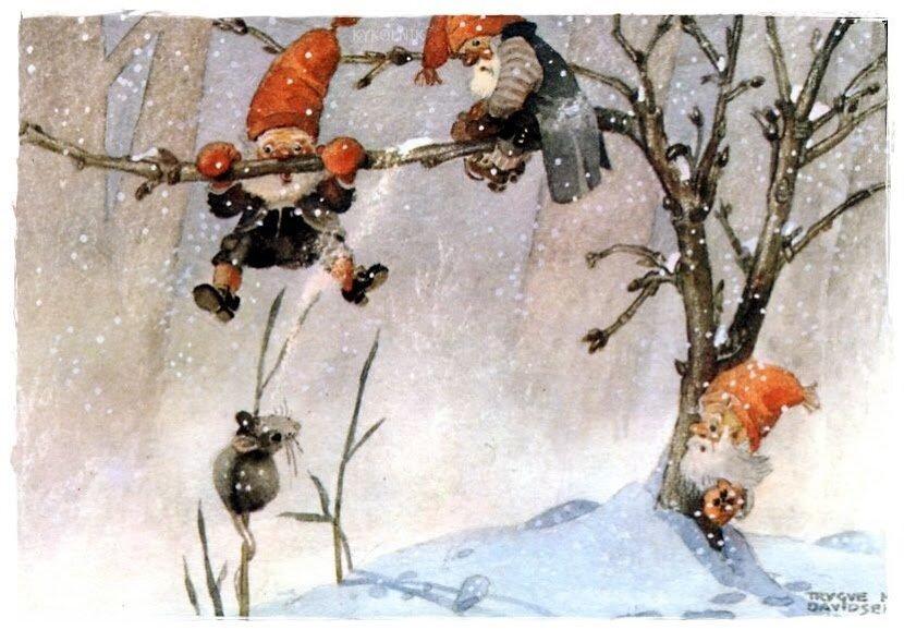 Жду, новогодние скандинавские открытки