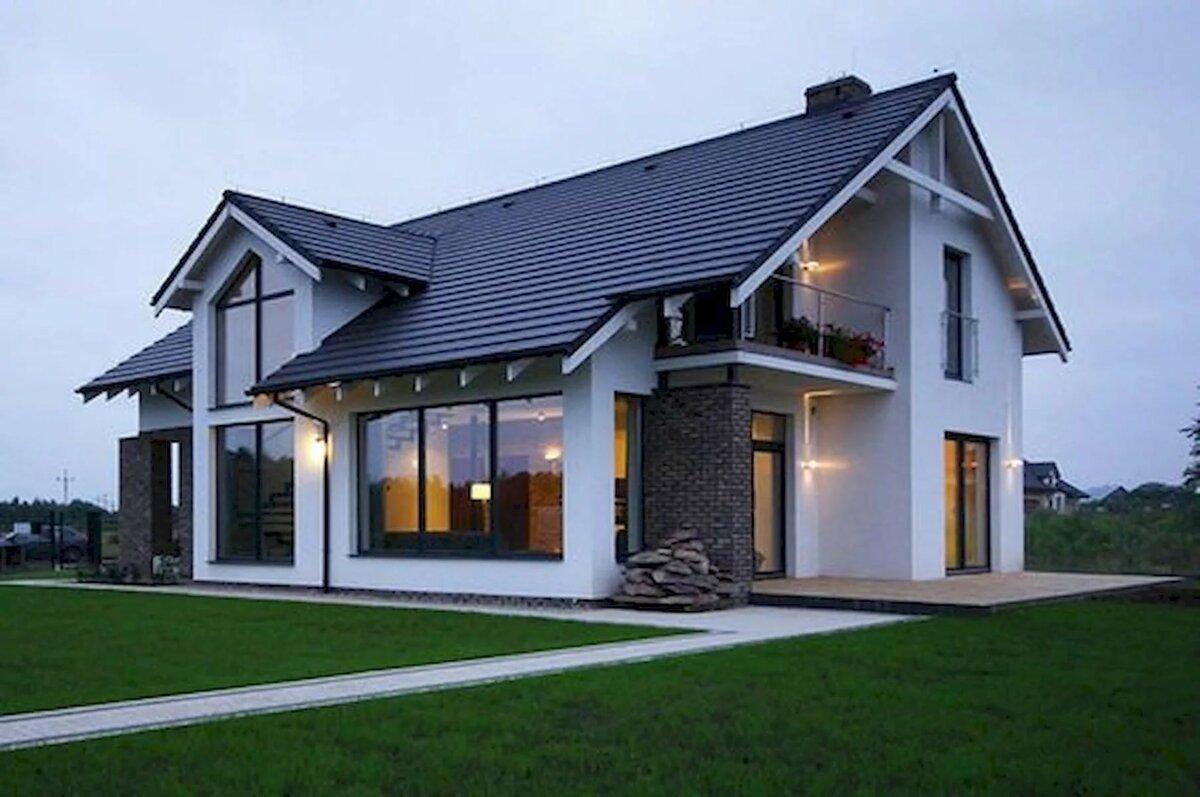 двухэтажные дома со скошенной крышей проекты фото раскрашиванием картинок этого