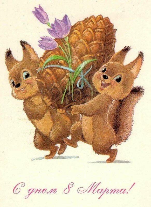 Советские открытки зверюшки, открытки для школы