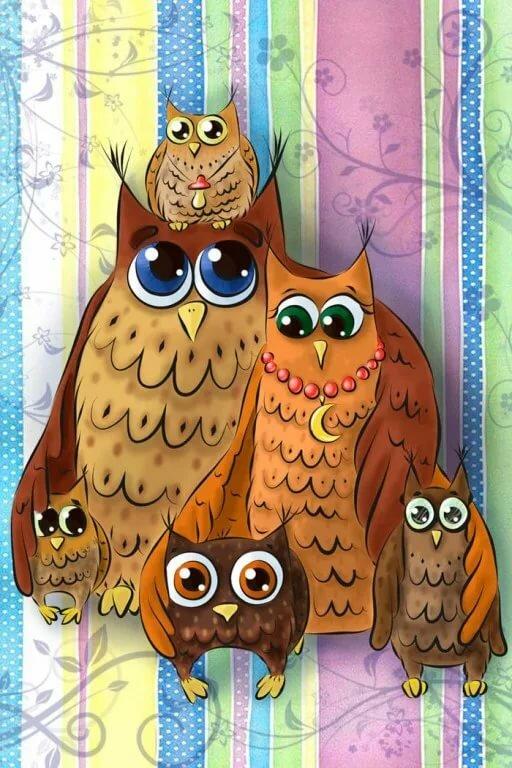 Открытка с совами и птичками, открытку для красивой