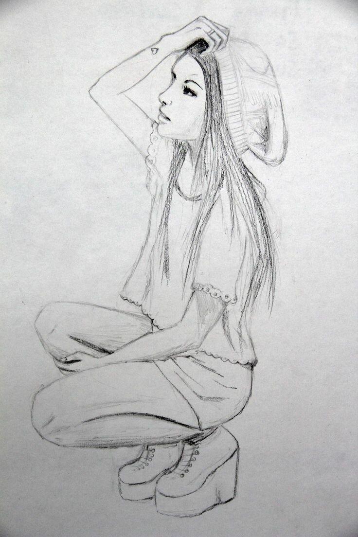 Картинка работу, прикольные картинки для срисовки девушки боком