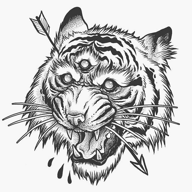 тигр тату эскиз картинки которая фактически отправляет