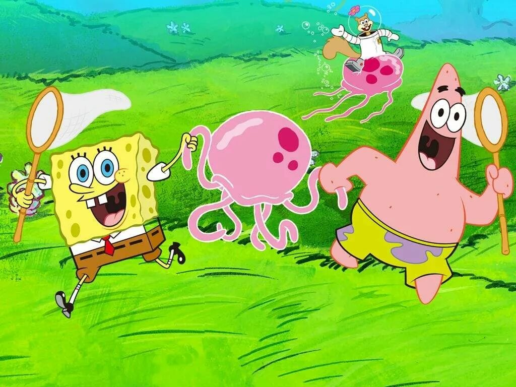 Картинки медузы и спанч боб