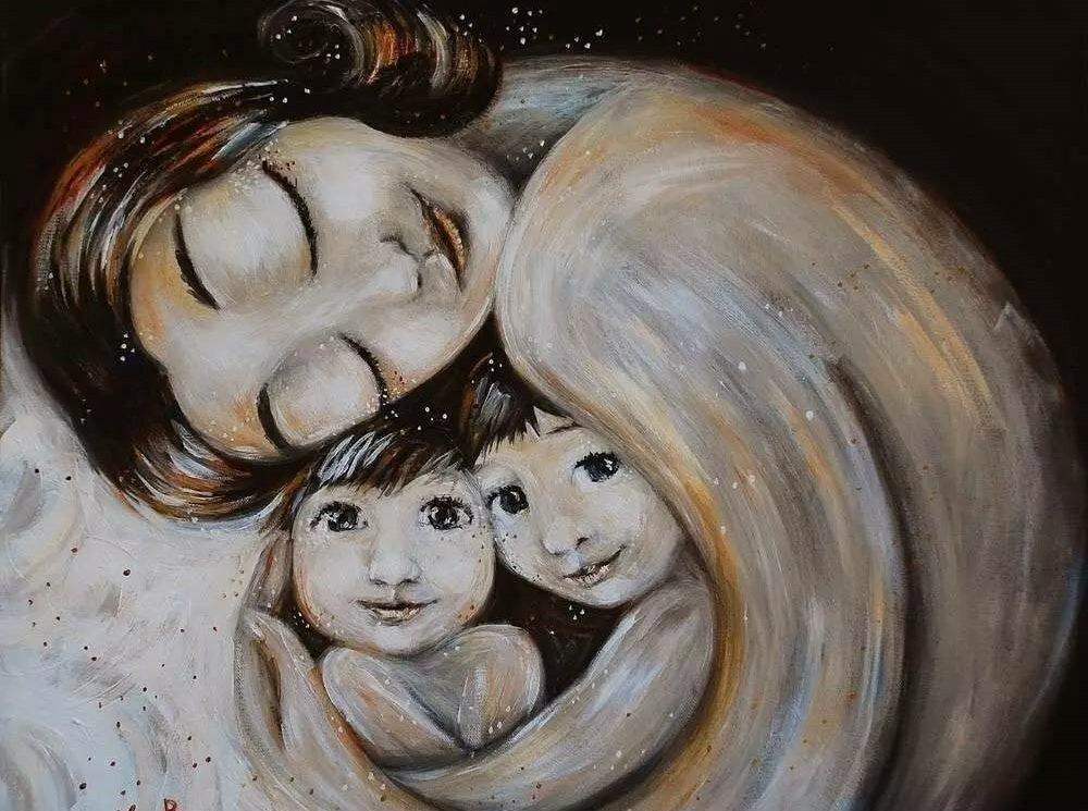 Сделать открытку, дети с мамой картинки нарисованные