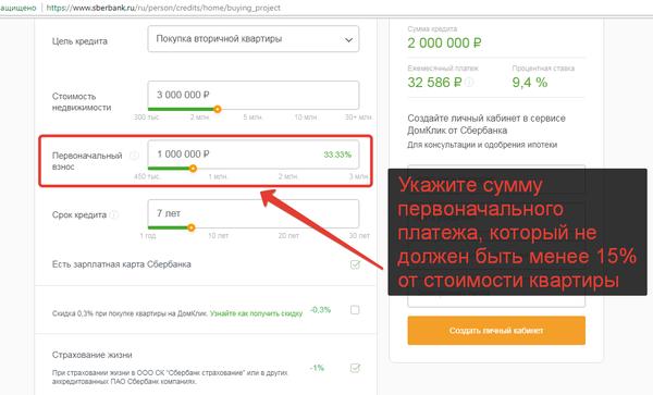 Как рассчитать ипотеку в Сбербанке на онлайн калькуляторе.