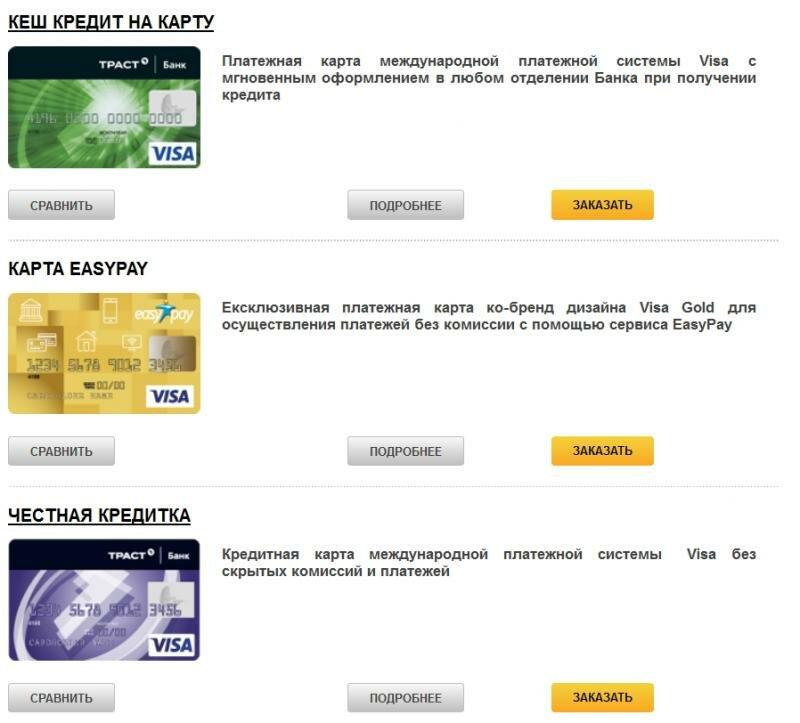 кредитная карта траст