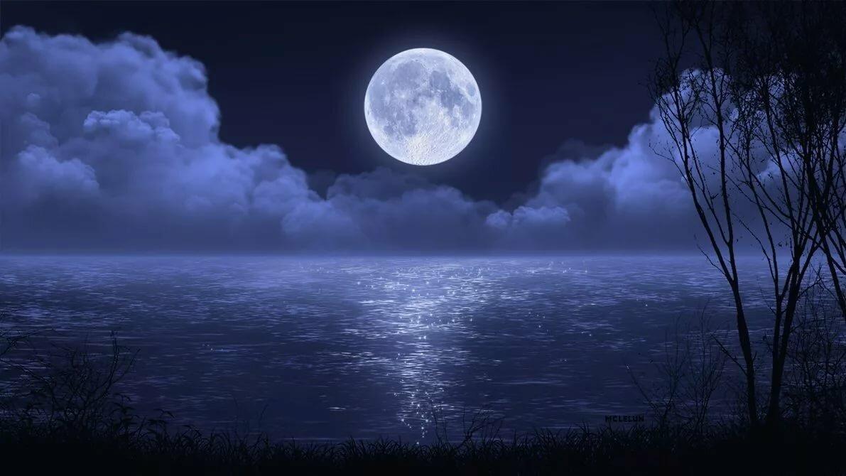 луна над водой картинка увлекательно