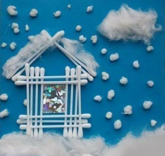 костянкой понимают зимние поделки из ватных палочек фото модные