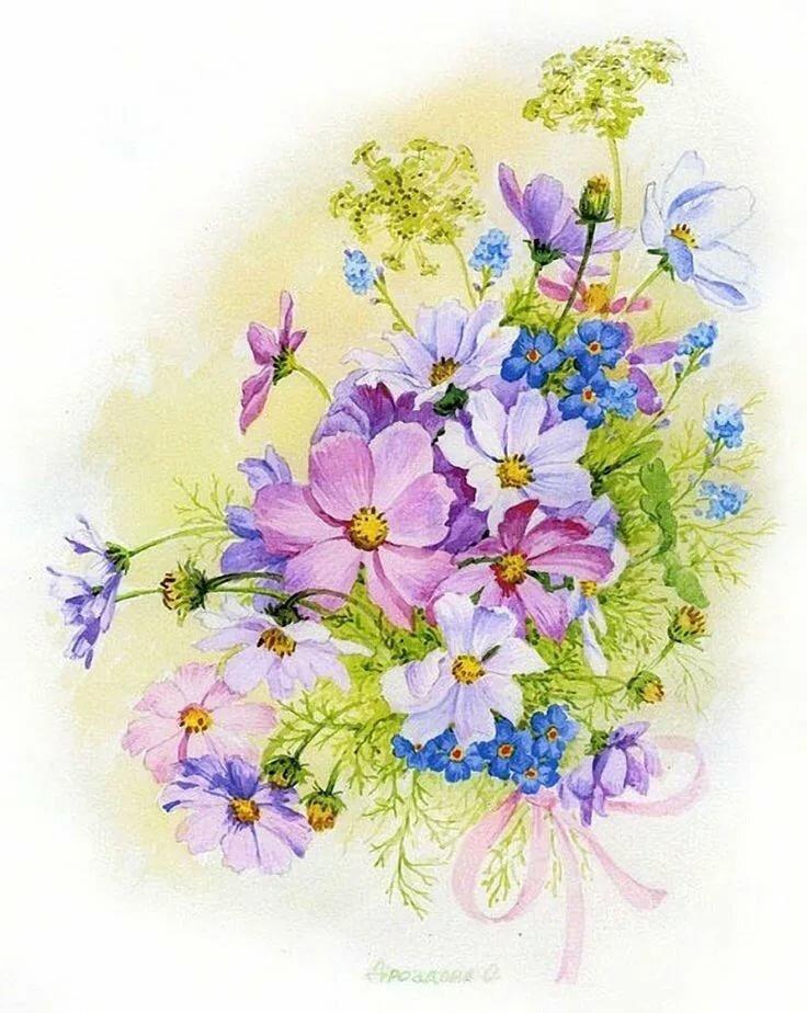 Открытка на день рождения цветы нарисовать