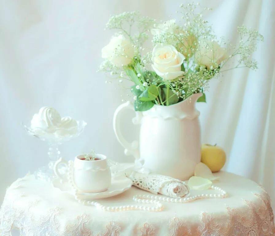 Визитку, открытка доброе утро белые розы