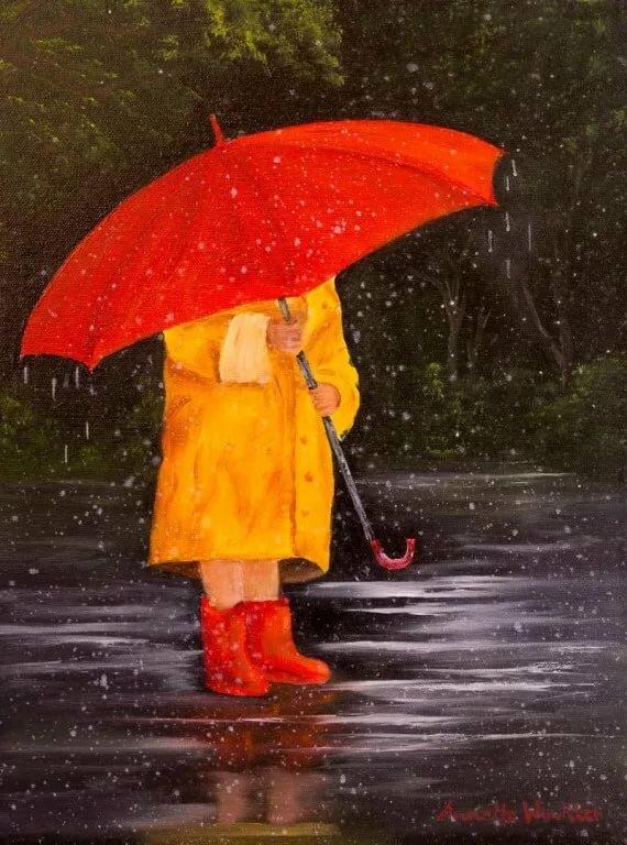 Люди под зонтиком картинки