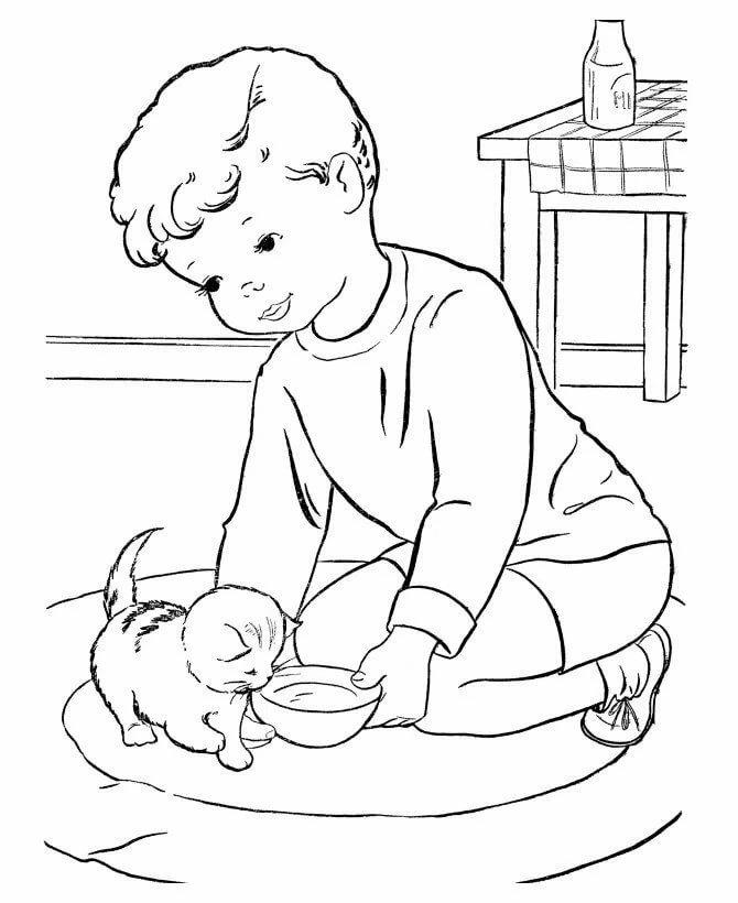 «Раскраска Котенку подают миску с молоком - распечатать ...