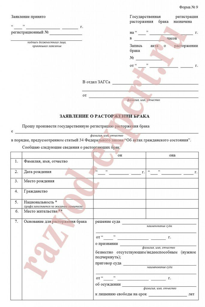 документы для развода 2020