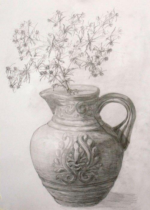 Картинки натюрморт карандашом цветы женой