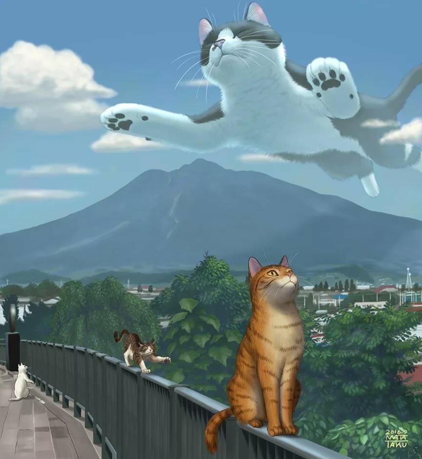 рисунки огромных котов про зимние морозы
