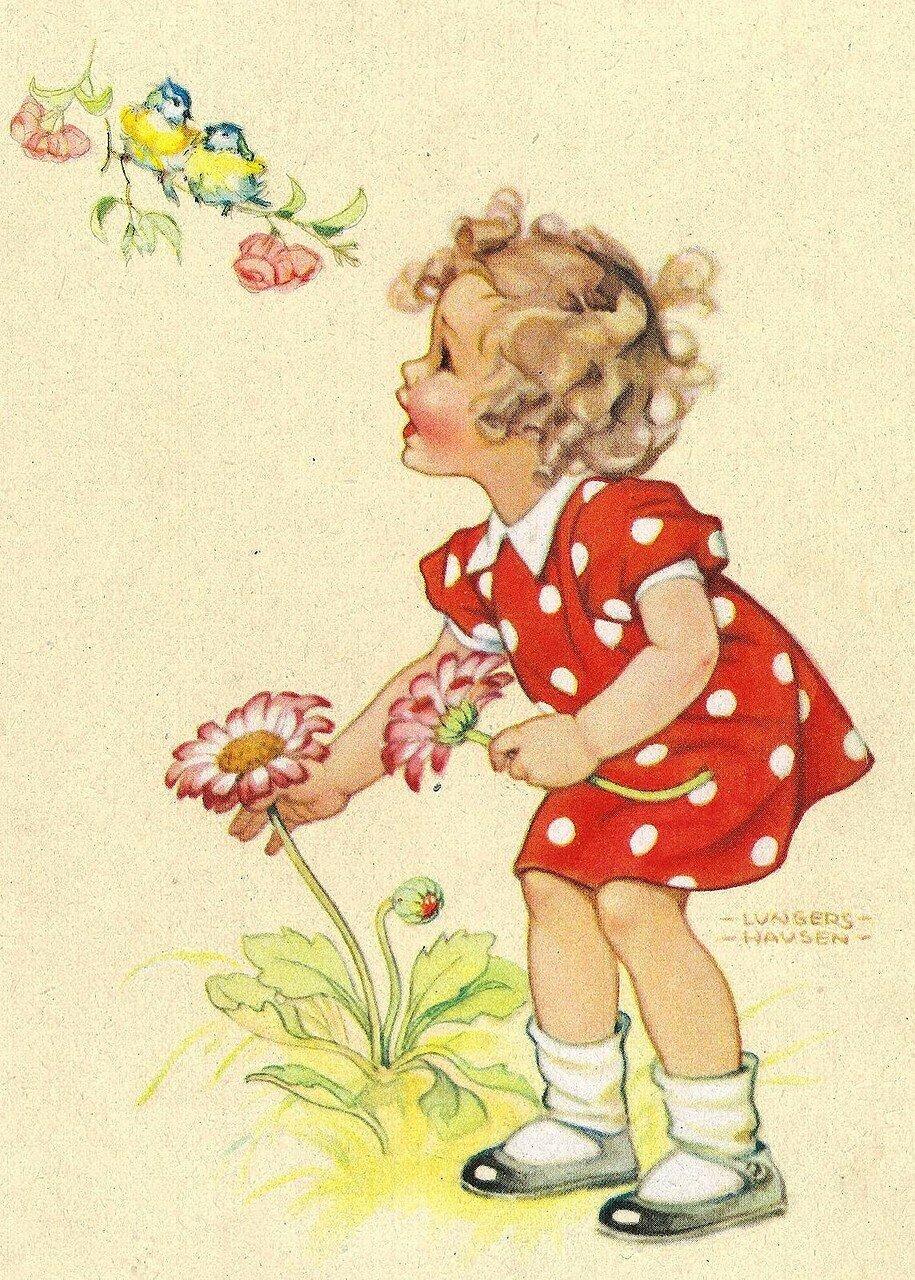 2 дети открытки, фон