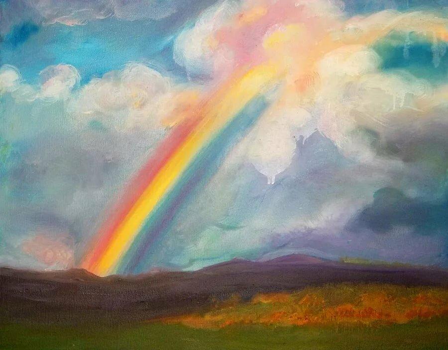художник рисует радугу картинка обычного