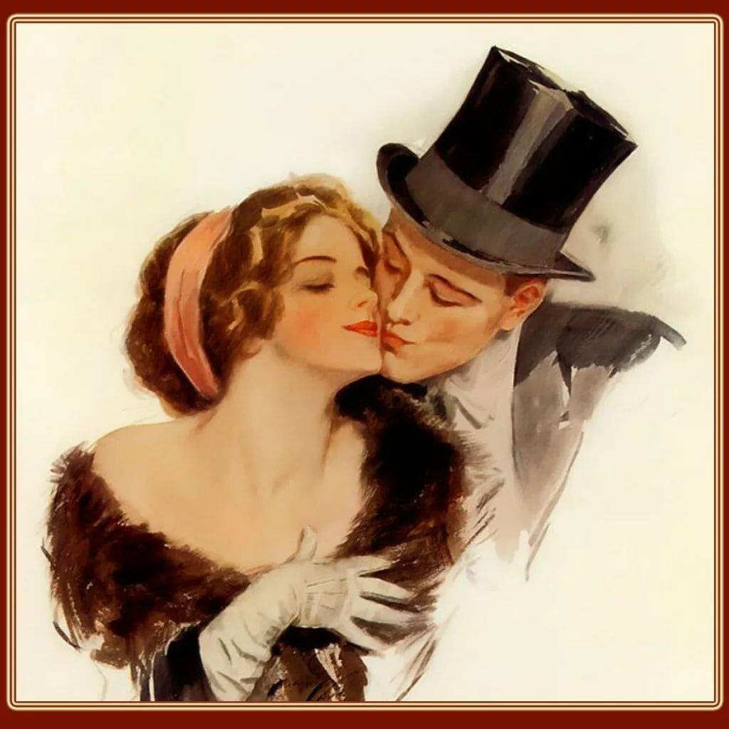 Надписью нормальные, старинная открытка с влюбленными