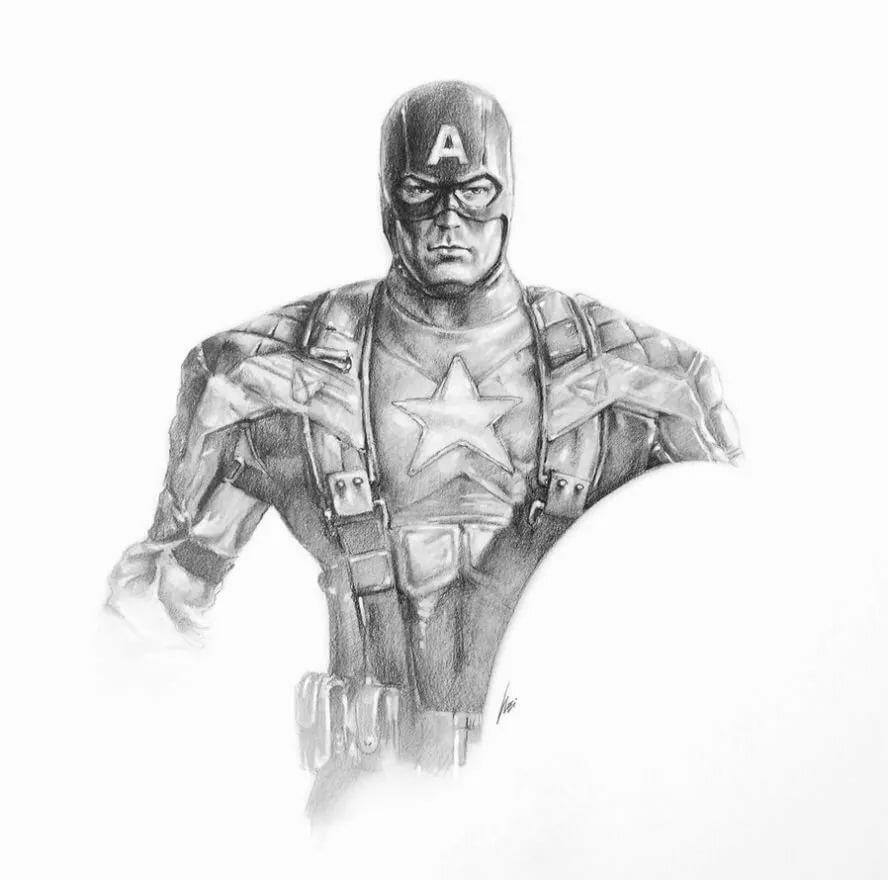 капитан америка арты простым карандашом что обратить