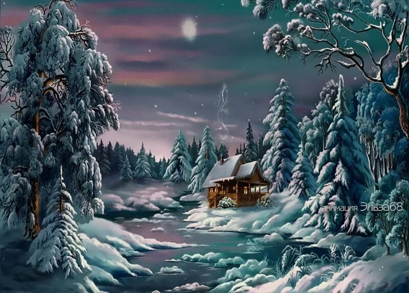новогодние открытки сказочный лес