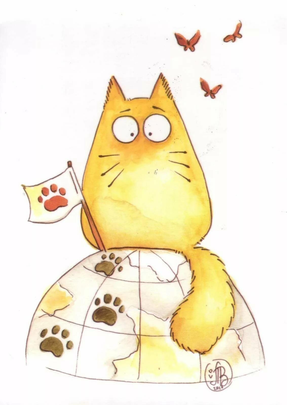 Картинки кошек мультяшных прикольных, днем фсб