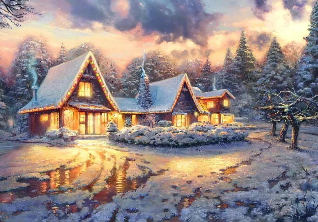 открытки с зимними домиками