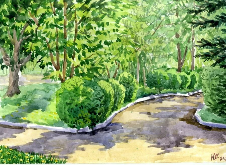 Аллея в парке рисунок