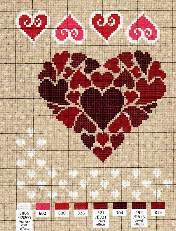 Открытки с сердечками вышивка
