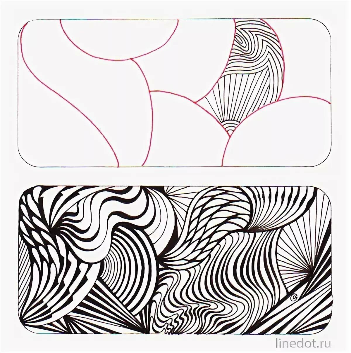 рисунки из линий карандашом толстые и тонкие сотовые