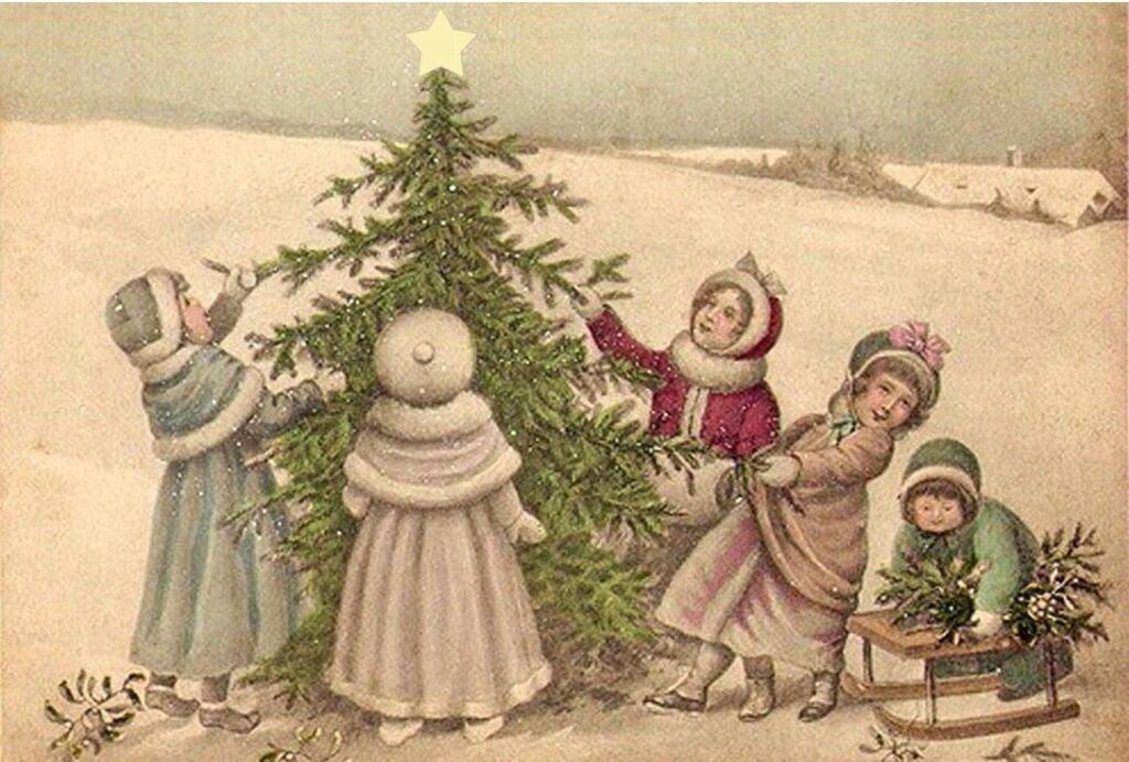 Красивые открытки с новым годом и рождеством старые