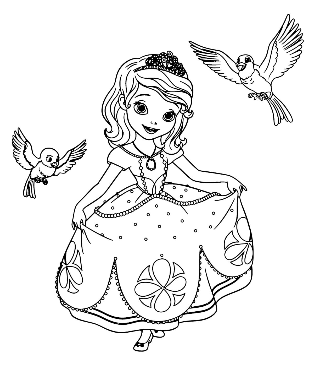 Картинки с принцессами для разукрашивания