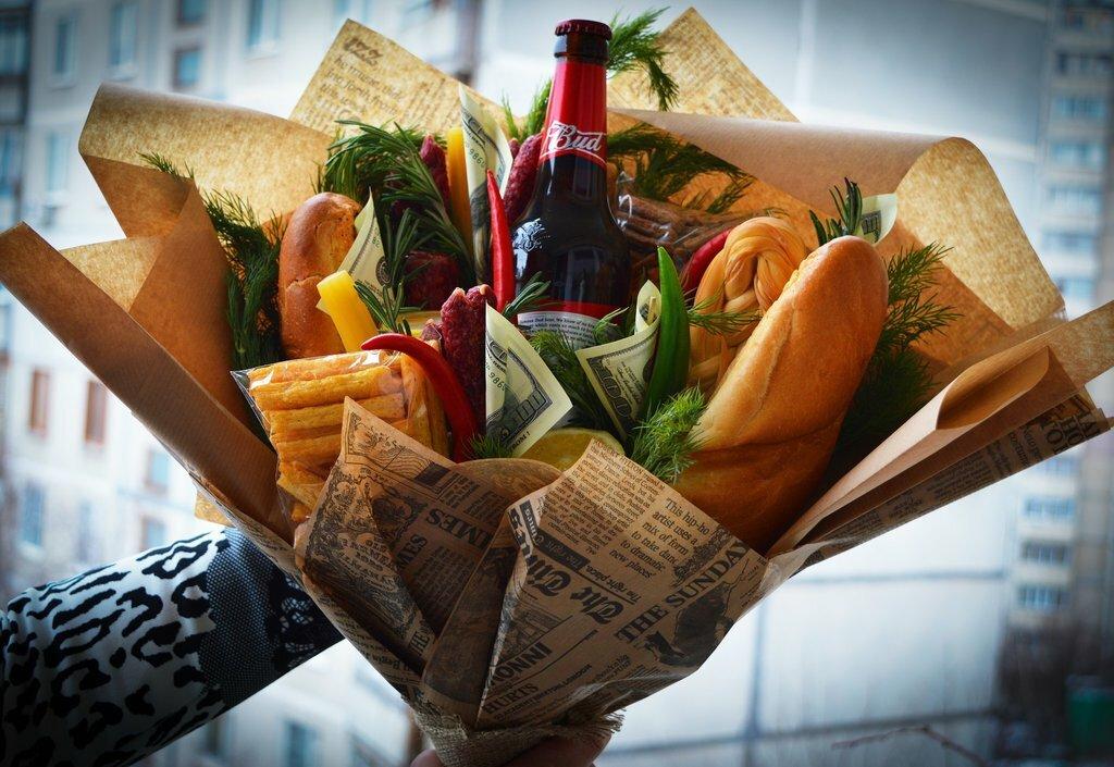 Как сделать букет из еды на 23 февраля, сад букеты