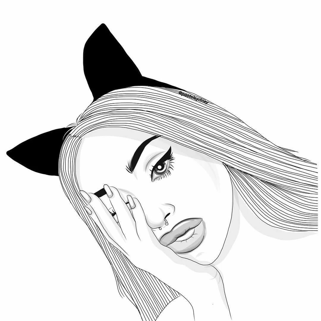Красивые девушки черно белый рисунок