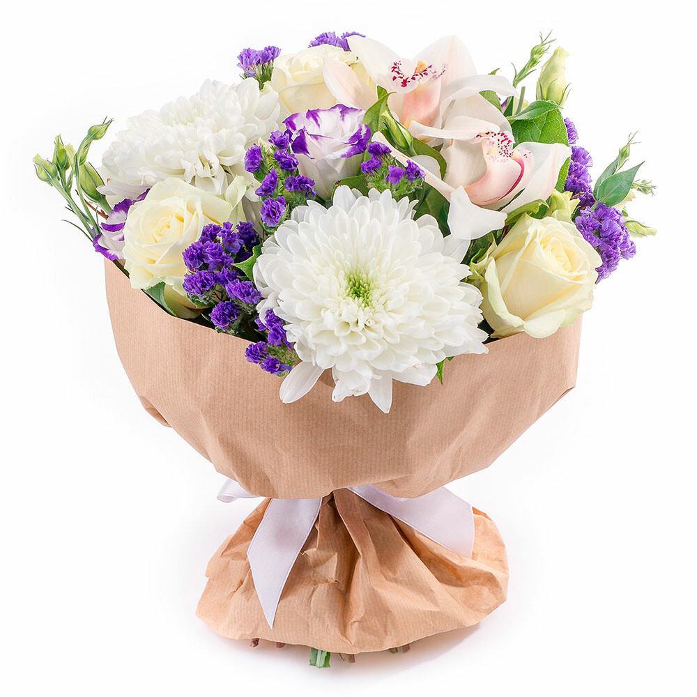 Букет белых, заказ цветов с доставкой новокосино