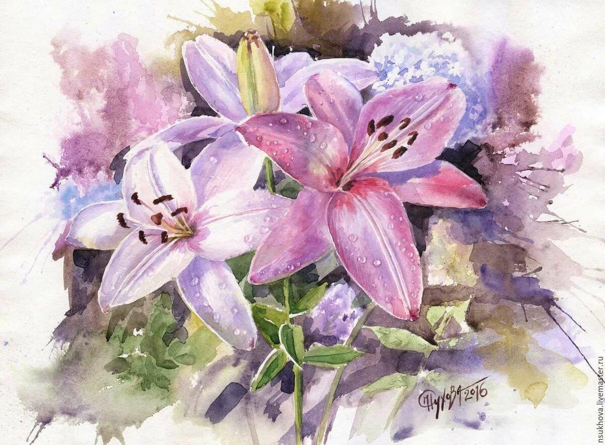 Цветные открытки с лилиями