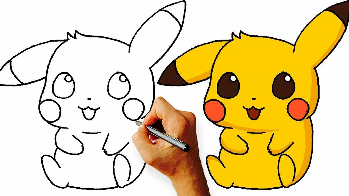 Картинки для срисовки легкие и красивые пикачу, прекрасным настроением