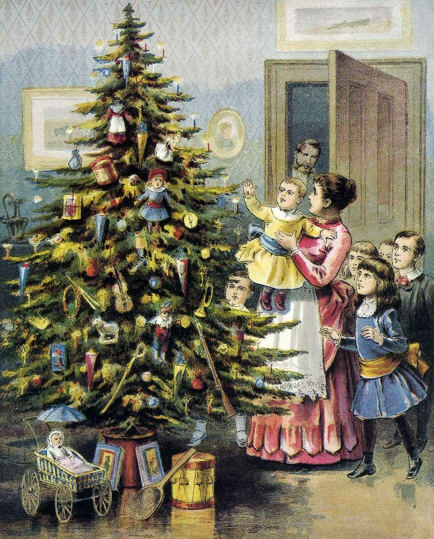 Открытки с елкой старинные