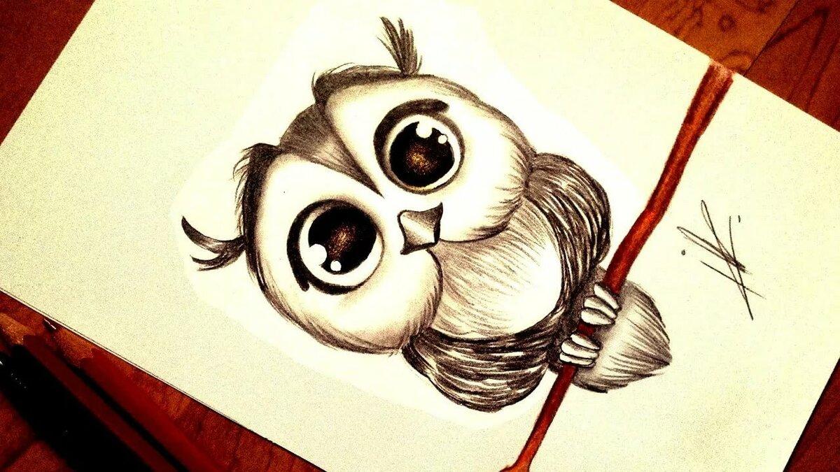 Рисунки животных с большими глазами для начинающих